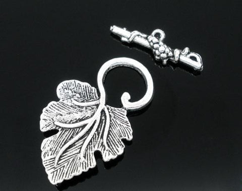 20 Sets dull silver color Grape Charm Toggle Clasps
