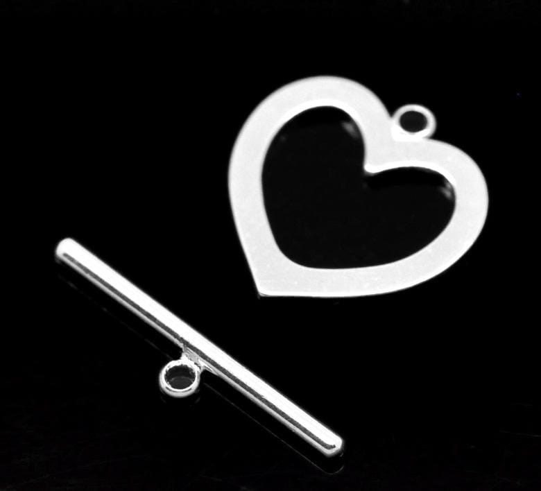 Silver color Heart Charm Toggle Clasps 10 sets