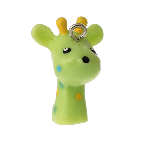 Giraffe Light green 10 PCs charm