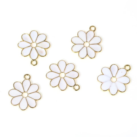 Flower Gold color Enamel charms 10PCs