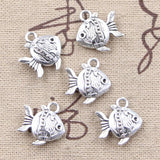 8 pcs double sided fish goldfish charms 14 mm x 15 mm