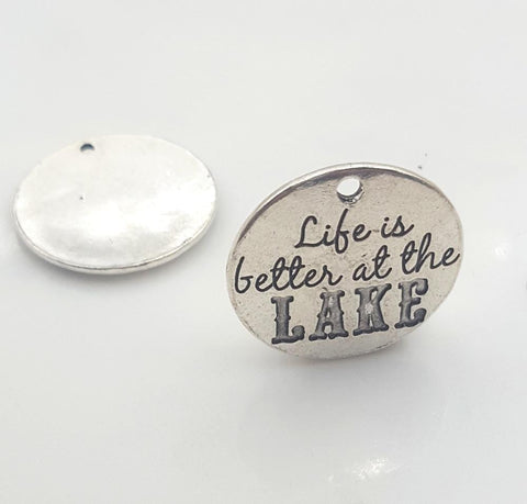 20pcs/lot 25mm Life is Better at the Lake Charms