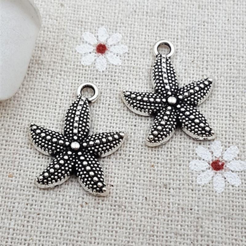 50pcs  silver Starfish Charms