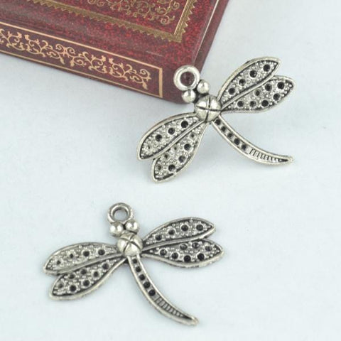 10Pcs Antique Silver Dragonfly Charms