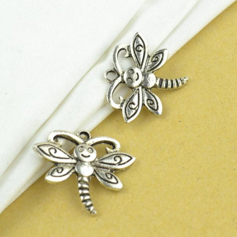 15Pcs Dragonfly Antique Silver Charms