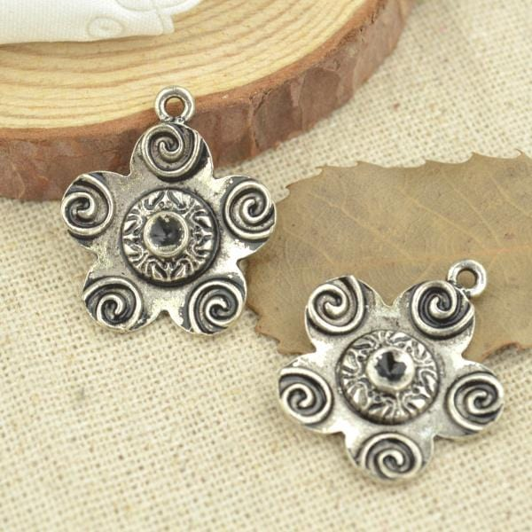 10 Pcs 24*21 mm Antique Silver Flower Swirl Charms