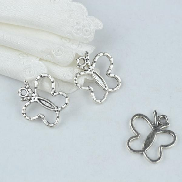30Pcs Antique Silver with Texture throughout Butterfly Charms
