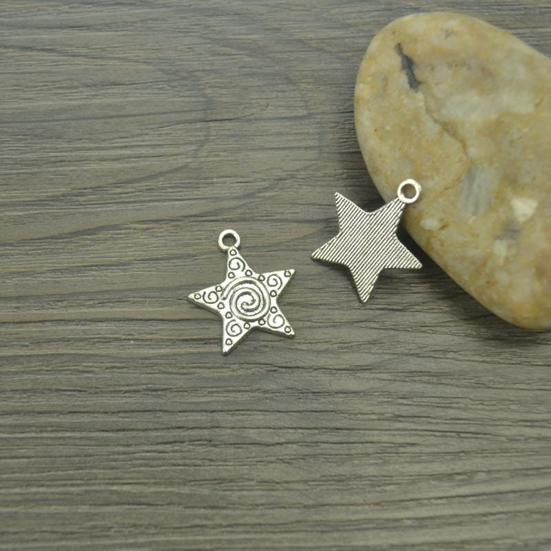 20 pcs/lot Star Antique Silver Plated Charms with a swirl Design