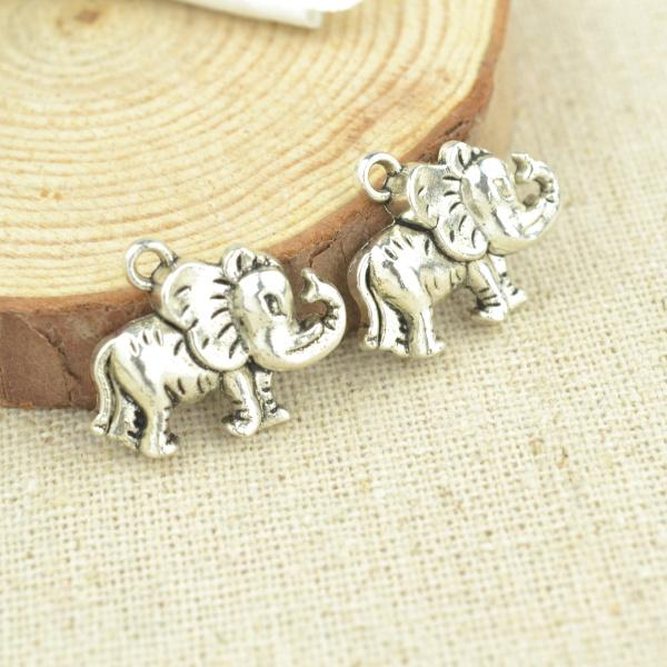20 pcs Antique Silver 3D Elephant Charms 20*16 mm