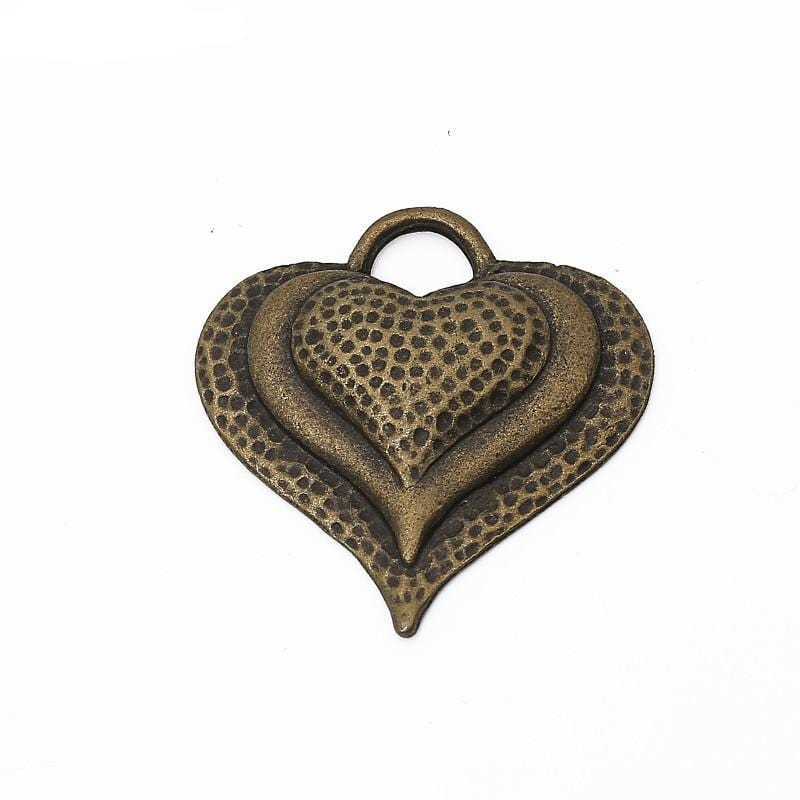 7pcs antique bronze Hearts Charm 34*33mm