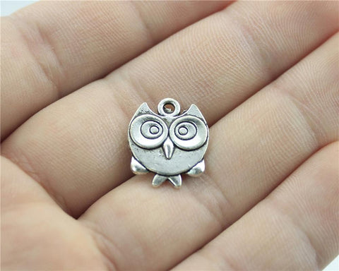 8pcs Super cute silver owl charms Double Sided!  17*14mm