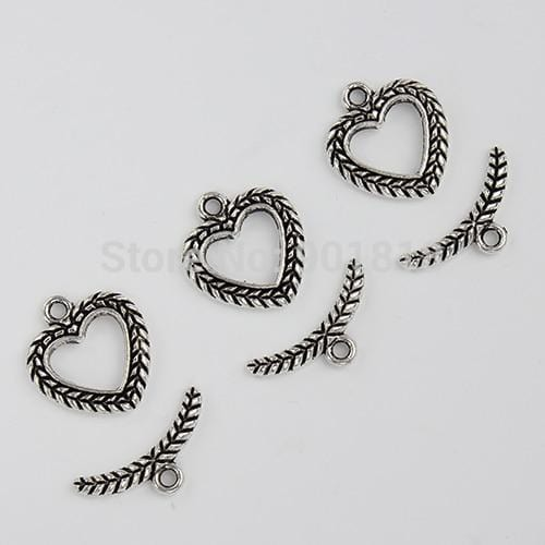 20 Sets/lot  Silver heart toggle clasp