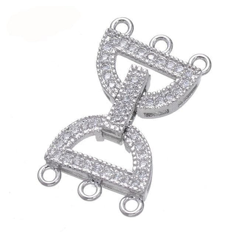10 Triple Strand Silver rhinestone Pave Fold Over Clasps