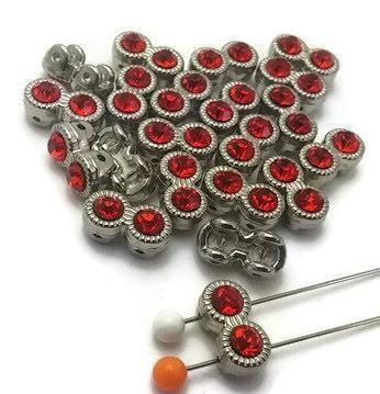 21 red rhinestone 2 hole beads 12011-M5