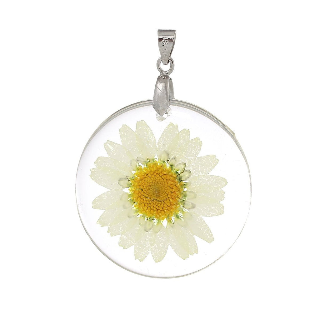 Resin Charm  Transparent Yellow Real Flower