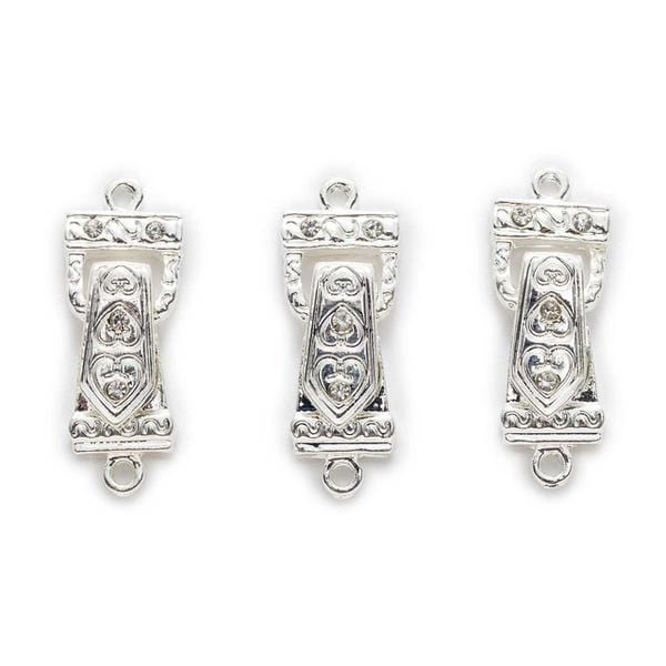 10 Sets Silver Rhinestone Magnetic Clasps 30x13mm