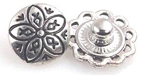 Round wink with a cute flower etched into the top with antique details 10888-F14