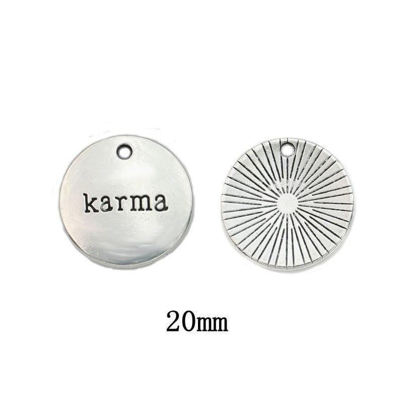 Simple but to the Point Karma Round Charms 20x20mm