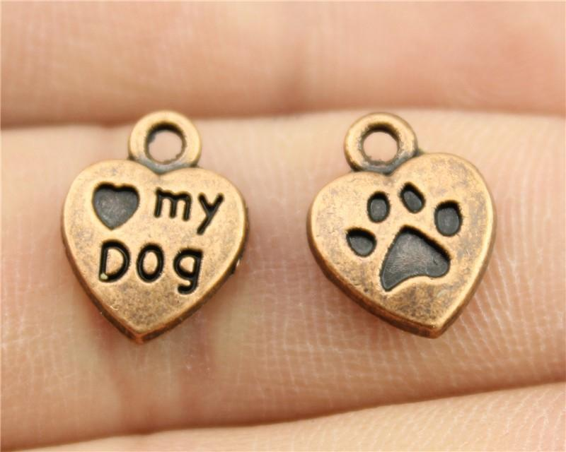 WYSIWYG 10pcs 13*10mm Antique Copper Color Paw And I Heart My Dog Heart Charms - mobile-boutique.com