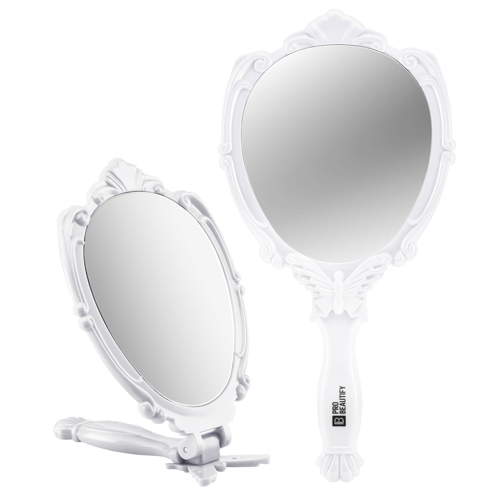 Probeautify Decorative Handheld Compact Mirror- Embossed Butterfly Design- Folding Handle- Lightweight & Portable- 180 Degrees Full Folding- Premium Quality- Ideal For Your Makeup Routine- Travel Mirror (White)