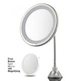 "Probeautify Lighted Makeup Mirror 10"" Long Gooseneck Mirror with Warm LED Light, Best Wireless, Battery Operated, Adjustable, Bathroom Vanity Dresser Mirror, FREE 10X Magnifying Spot Mirror, Compact Travel Mirror"