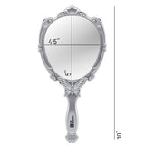 Probeautify Decorative Handheld Compact Mirror- Embossed Butterfly Design- Folding Handle- Lightweight & Portable- 180 Degrees Full Folding- Premium Quality- Ideal For Your Makeup Routine- Travel Mirror (Silver)