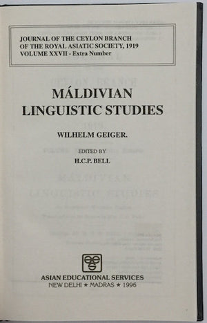 Maldivian Linguistic Studies by Wilhelm Geiger (edited by H. C. P. Bell)