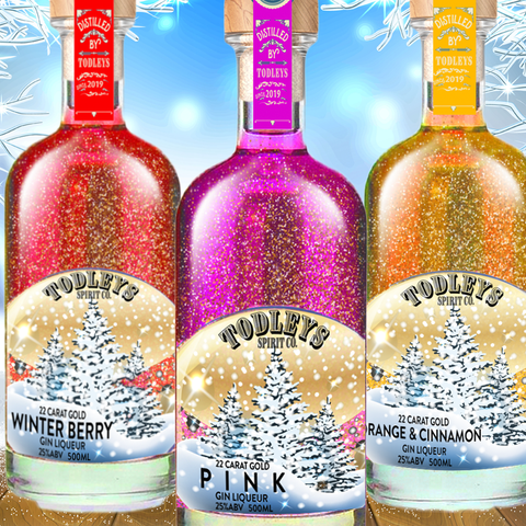 SECRET DEAL!! 3 x 22 Carat Gold Snow Globe Gin Liqueurs