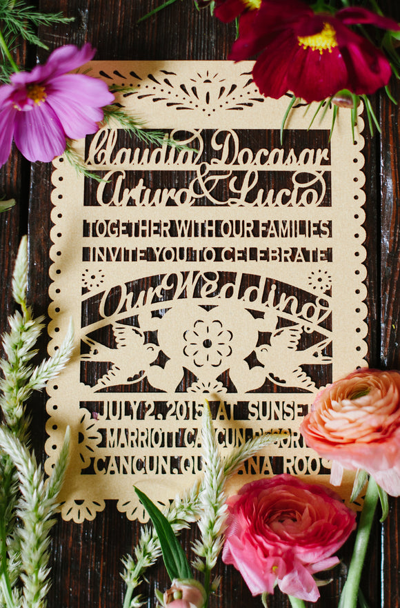 Papel Picado Wedding Invitations Laser Cut Love Bird Mexican Wedding in Mexico Cancun Sayulita Beach Fiesta Traditional