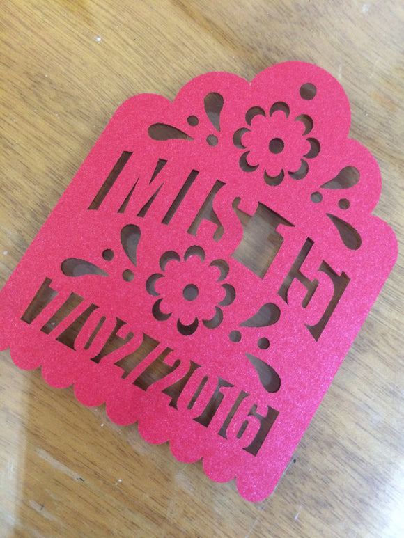 Quinceanera Mis 15 Party Favor Laser Cut Tags (each piece) PERSONALIZED Custom fiesta birthday papel picado style Mis Quince