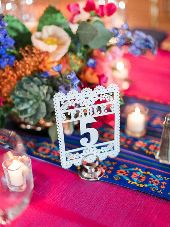 Table Numbers (each piece) Mini Flags card stock Papel Picado Mini Flags (5x7) Wedding fiesta Quinceanera fiesta mexican mexico