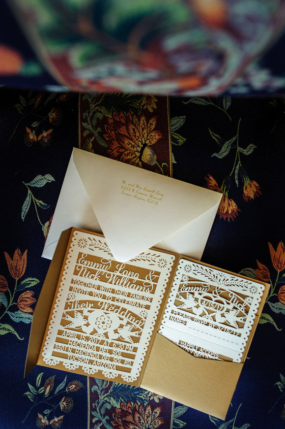 Papel Picado Wedding Laser cut Invitation, rsvp cards, and pockets including envelopes for invite and rsvp) Love Bird