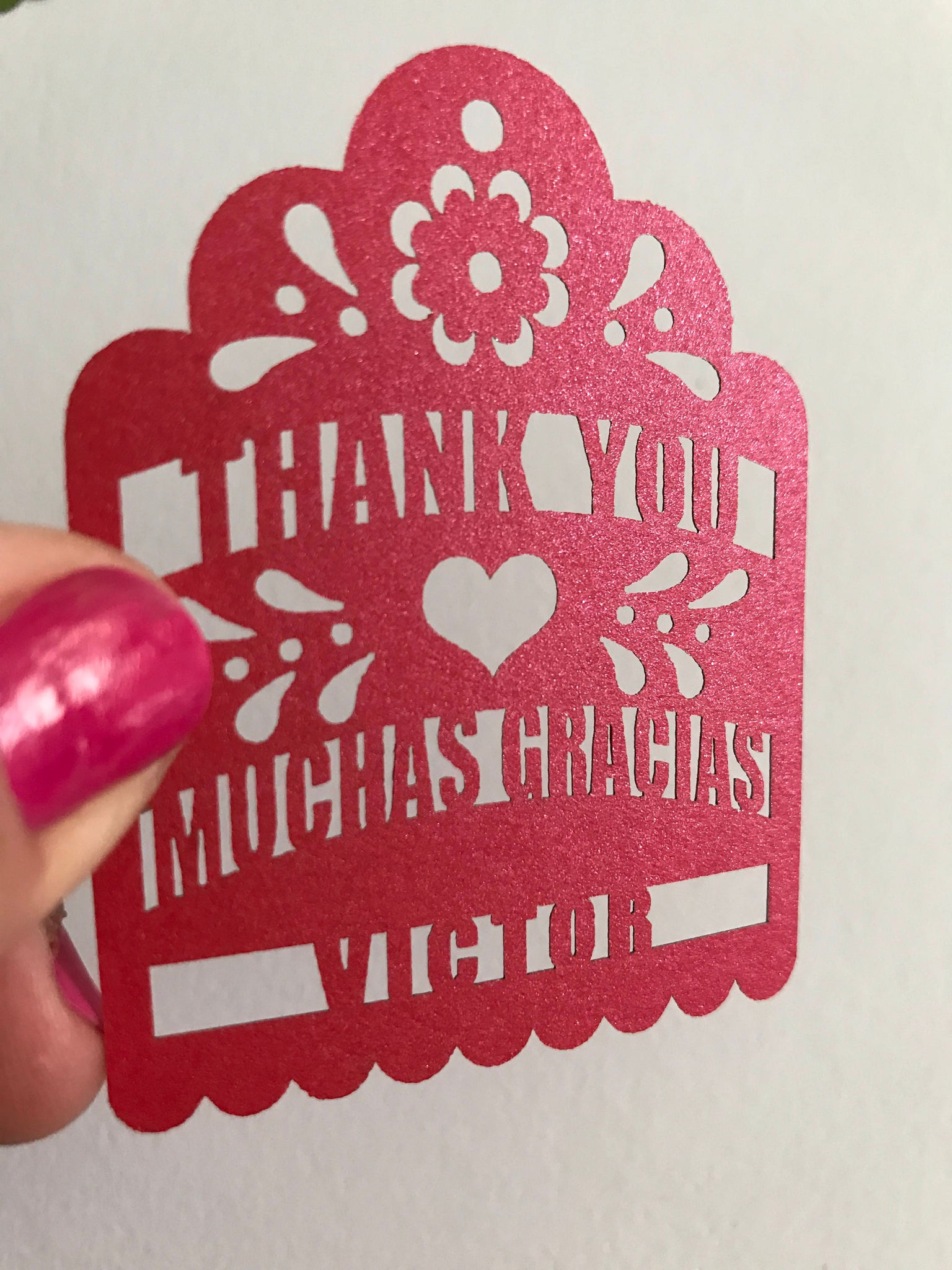 Thank you Muchas Gracias Personalized Fiesta party favor Tags laser ...