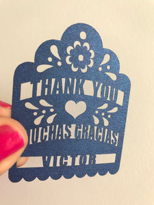 Thank you Muchas Gracias Personalized Fiesta party favor Tags laser cut with name wedding gift tags mexican papel picado piñata maraca tags