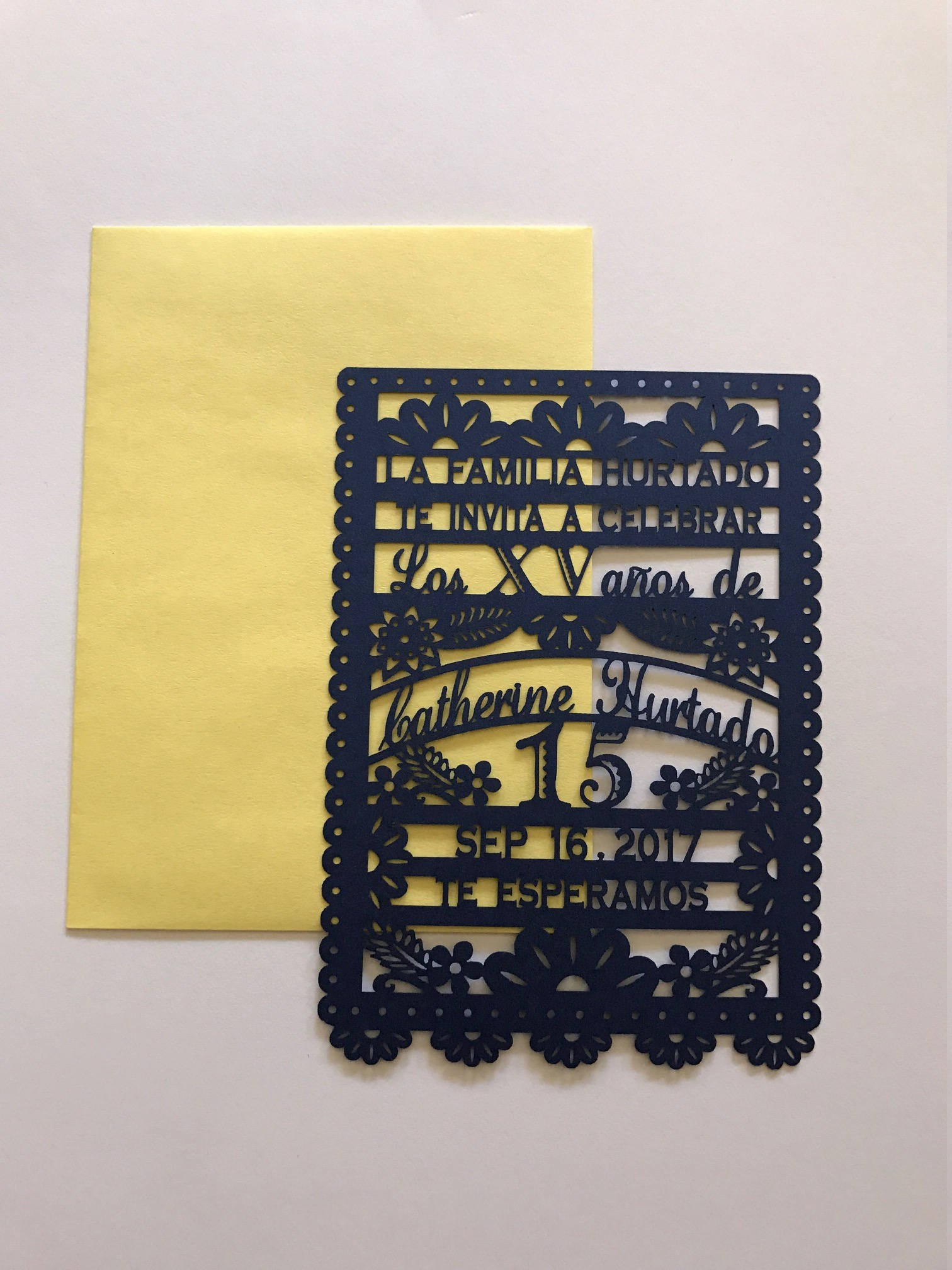 Quinceanera Invitation Laser Cut Birthday Papel Picado Mexican