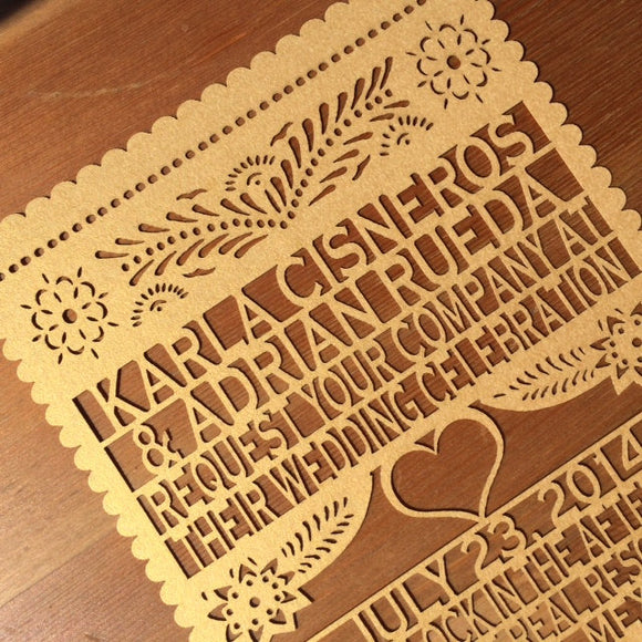 Papel Picado Laser cut Invitation Wedding Fiesta Simple Heart
