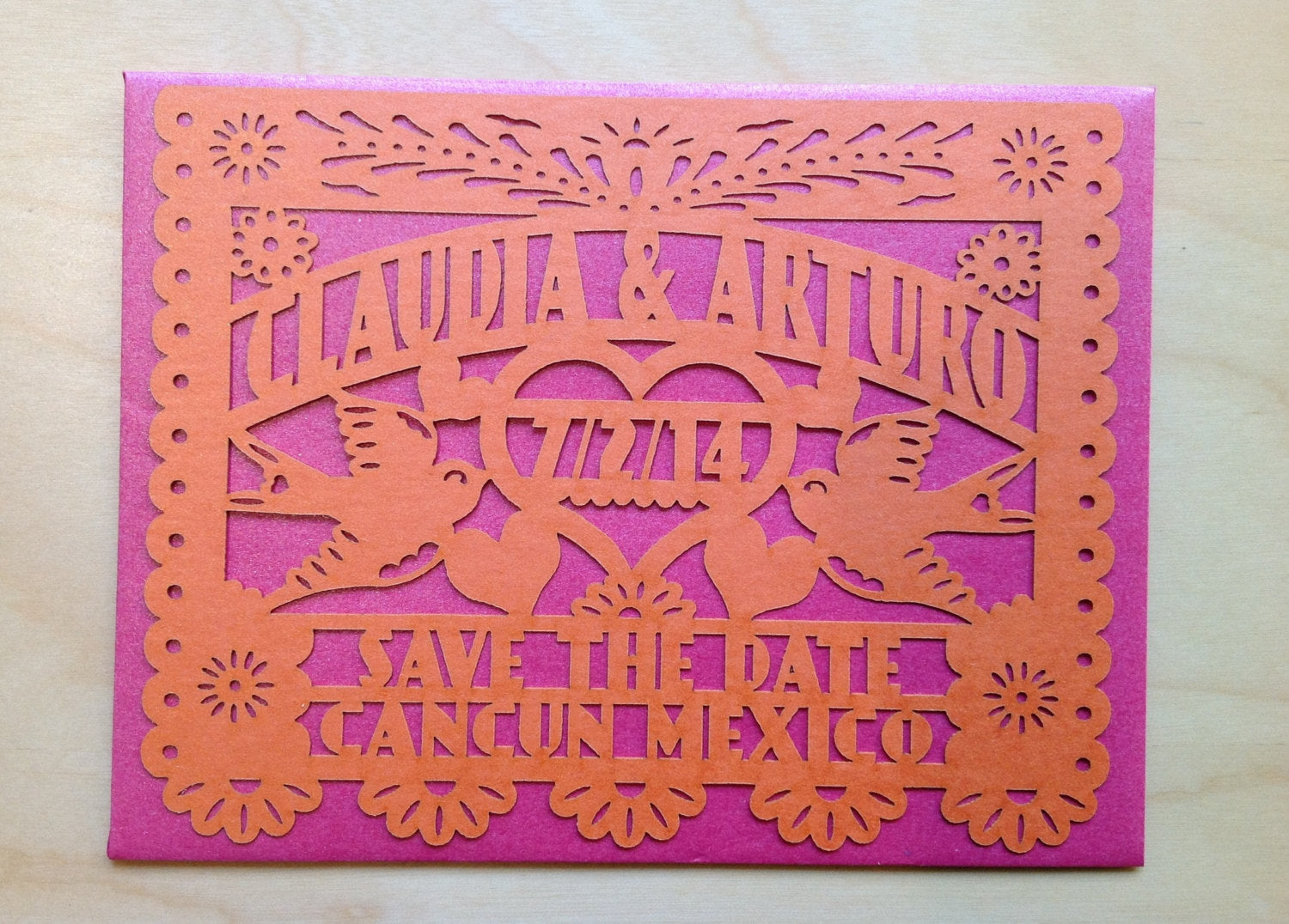 Wedding Save The Date Cards Laser cut love birds Papel Picado ...