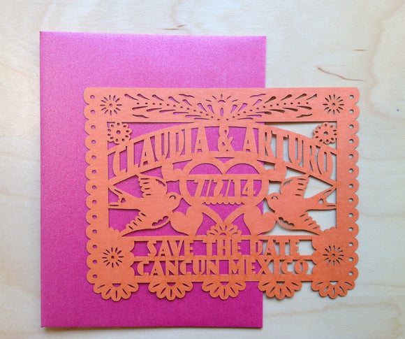 Wedding Save The Date Cards Laser cut love birds Papel Picado Inspired destination wedding in Mexico fiesta Mexican Wedding Sayulita Cancun