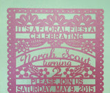 Quinceanera Invitation Laser cut BIRTHDAY Papel Picado mexican fiesta 15th birthday Sweet Sixteen Sweet 16 Spanish invitations