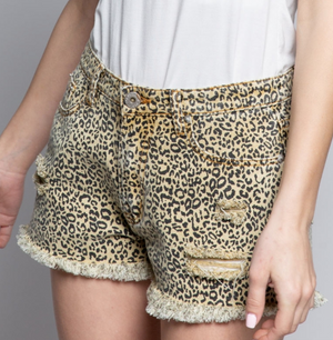 Louis Leopard Denim Shorts