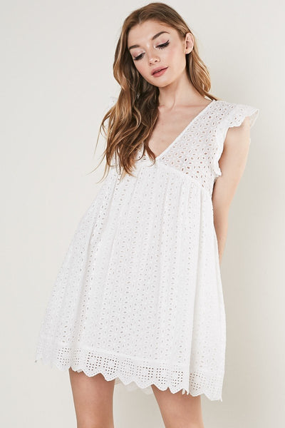 Pearl Romper Dress - White