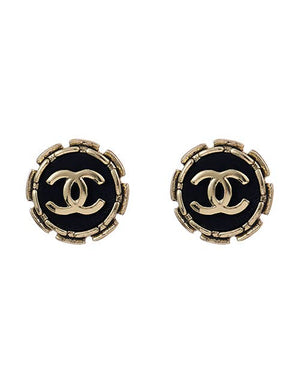 CC Stud Earrings - Black