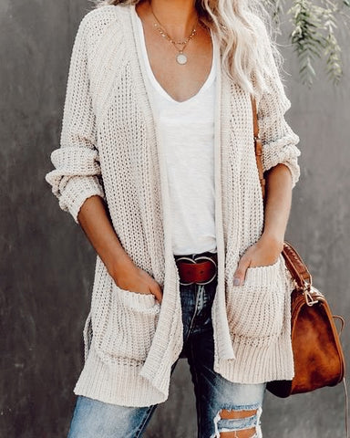 Spencer Cardigan - Ivory & Mauve