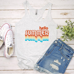 Hello Summer Women's Tri-Blend Racerback Tank