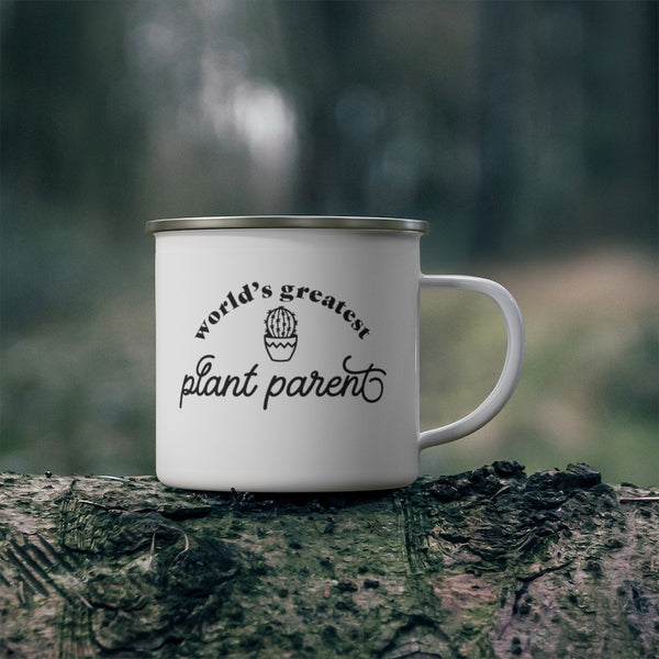 World's Best Plant Parent Enamel Camping Mug