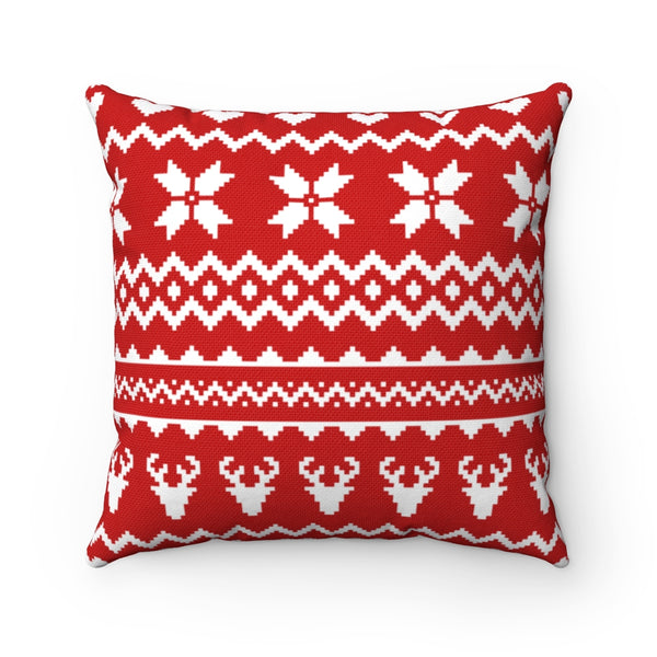 Red Christmas Sweater Spun Polyester Square Pillow Case
