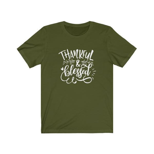 Thankful and Blessed Unisex Jersey Short Sleeve Tee