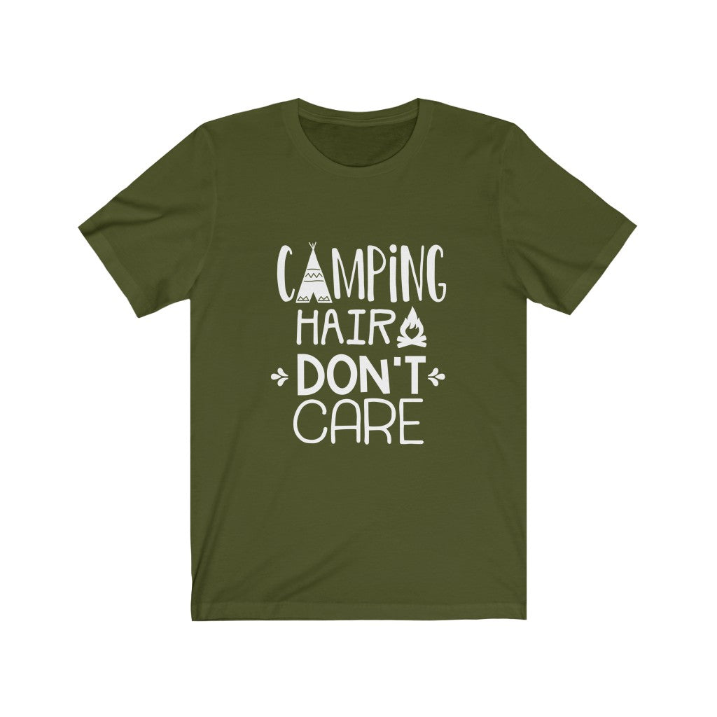 Camping Hair Don't Care Unisex Jersey Short Sleeve Tee