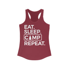 Eat Sleep Camp Repeat Women's Ideal Racerback Tank