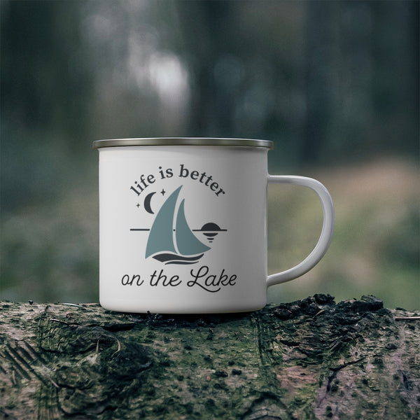 Life is Better on the Lake Enamel Camping Mug